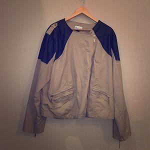Blue Bi You Khaki/Leather Jacket • Size 22/24